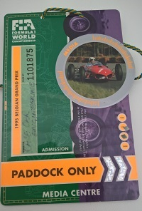 Formual One Belgian Grand Prix Paddock Pass
