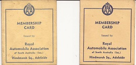 AA South Australian Membership Cards 1957 and 1958