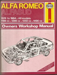 Alfa Romeo Alfasud Haynes Manual ISBN0856969745