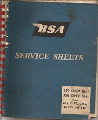 BSA Service Sheets 250 and 350OHV Star 1965