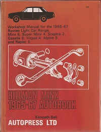 Hillman Minx Workshop Manual ISBN 0851471609