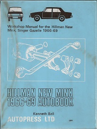 New Hillman Minx Workshop Manual SBN 851470998