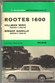 Rootes 1600 Range Owners Manual 1963 to 1965