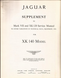 Jaguar XK140 Service Manual Supplement