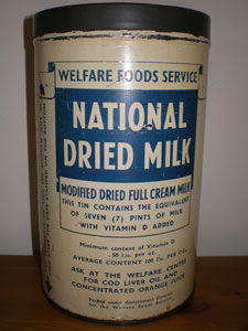National dried milk tin