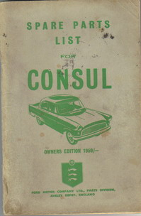 Ford Consul Spare Parts List 1959