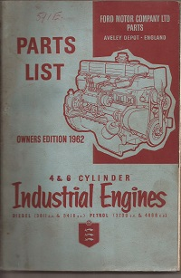 Ford Industrial Engines Parts List 1962