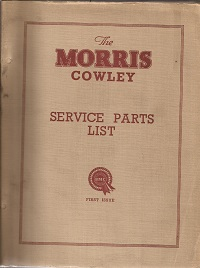 Morris Cowley Parts List