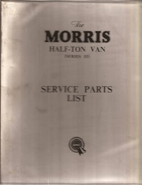Morris Half Ton Van Parts List 1957