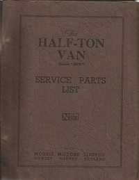 Morris Half Ton Van Parts List