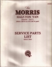 Morris Half Ton Van Parts List AKD691